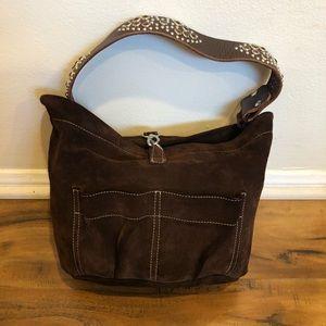 Tylie Malibu brown suede handbag